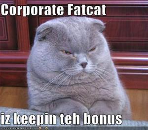 #1. Corporage Fatcat iz keepin teh bonus