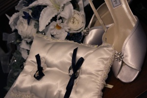 My parents' ring bearer pillow, my shoes and my flowers