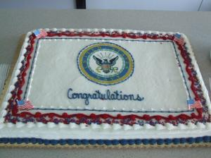 The cake provided to us by the museum where I work (and where we had the ceremony).