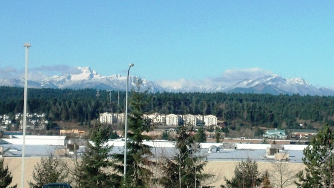 View from the hospital parking lot (I was just sitting there enjoying the view). I love seeing the Olympics surrounding me... Cascades are to the east.