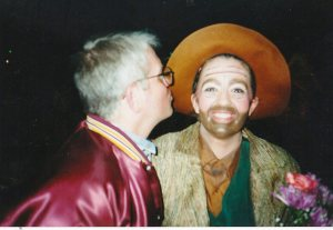"My dad and me my senior year of high school after I was in a community children's theater where I played Hansel & Gretel's father... scary how much I looked like him with ""man makeup"" on."