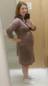 18 1/2 weeks trying on a comfy sweater dress (ignore the white socks with it)